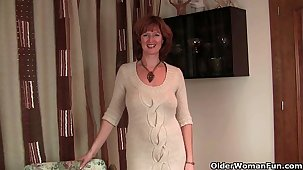 British milf Liddy strips off with an increment of shows her mature camel toe