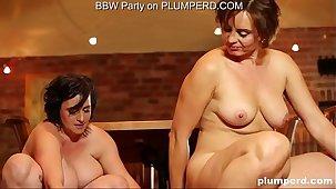 2 Mature Fat Ladies enjoying the cleanser little shaver