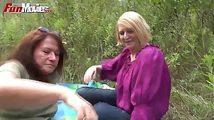 Amusement MOVIES Clumsy Mature Lesbians fucking in the forest
