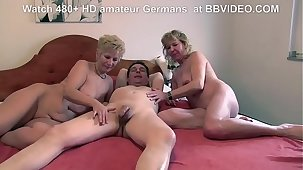 Nice age-old german granny loves about deepthroat and threesome