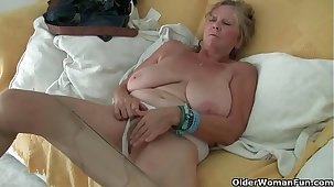 Euro granny Tarra dildos her over 70 domain old cunt
