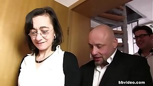 Skinny German granny twin penetrated hardcore