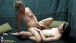 OldNanny Two lesbians girl is enjoying alongside toy