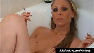 Hot Busty Milf Julia Ann Smokes Cigs Divest In Bathtub!