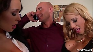 Busty Brunettes Patty Michova & Kyra Hot Fuck Their Boss' Outlook and Cock