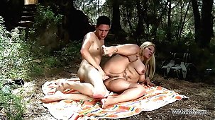 Big-busted mom take stepson to the nature where brutally mad about his big cock