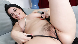 Cute milf Nyla from the USA feels playful relative to pantyhose