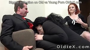 senior quarters owner enjoy old and young threesome