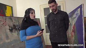 Busty Muslim negotiates with sex