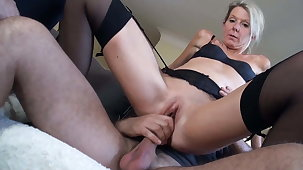 Classy milf Caroline Stines fucked apart from young stallion