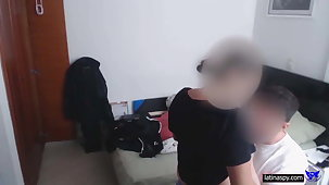 Huge breasted amateur live-in lover gets the brush titties groped