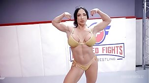 London River fighting Brandi Mae regarding lesbian wrestling with face sitting with an increment of a hard strapon fuck
