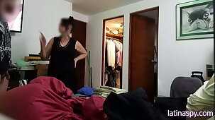 Jerking off in front be incumbent on Maid, then grabbing her huge melons