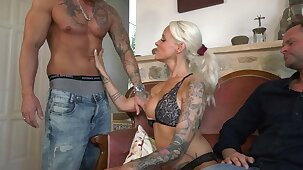 German Cuckold Milf laughed so much when she saw her husband's circumstance